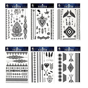 Long lasting and realistic temp tattoo stickers 6pcs Black lace in a packages,including black flower totem,black totem lace,elephant,feathers,black jewelry lace,indian trial jewelry tattoos