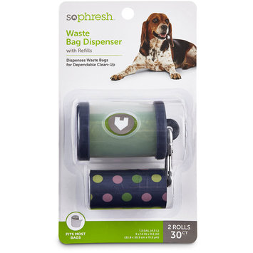So Phresh Navy Dog Waste Bag Dispenser with Refills, 30 CT