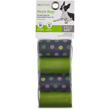 So Phresh Navy Polka Dot Dog Waste Bag Refills, 120 CT