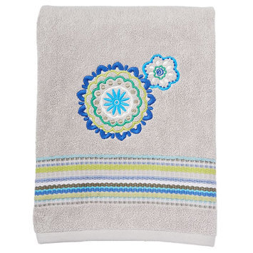 Saturday Knight, Ltd. Indigo Paisley Bath Towel, Grey