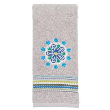 Saturday Knight, Ltd. Indigo Paisley Embroidered Hand Towel, Grey
