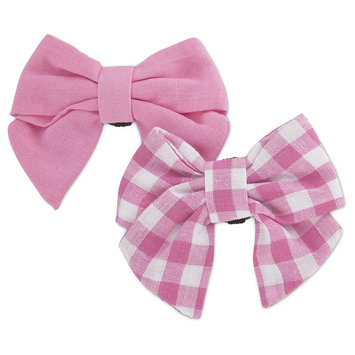 Bond & Co. 2 Pack Pink Gingham Bows for Small Dogs, One Size Fits All
