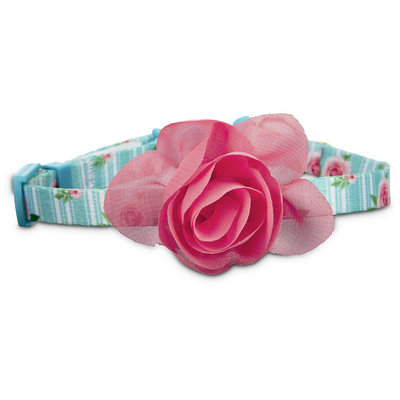 Bond & Co. Pink Rose Print Cat Collar in Blue, One Size Fits All