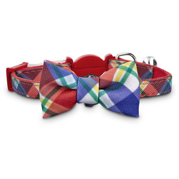 Bond & Co. Red Plaid Kitten Bow Tie Collar, One Size Fits All