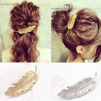 Bluelans 2pcs Leaf Design Punk Women Girl Hair Clip Pin Claw Barrettes Accessories (2pcs (gold and silver))