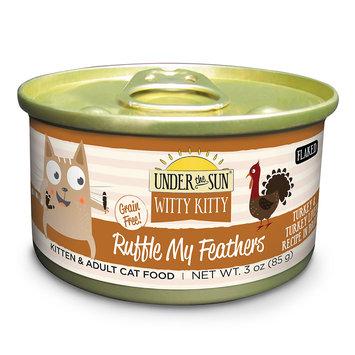 Under The Sun Witty Kitty Ruffle My Feathers Turkey & Turkey Liver Recipe Wet Cat Food, 3 oz, Case of 24