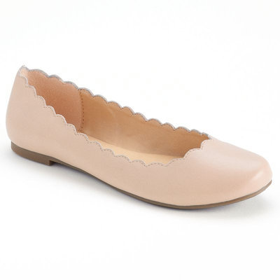 LC Lauren Conrad Women's Scalloped Ballet Flats, Size: 9, Pink