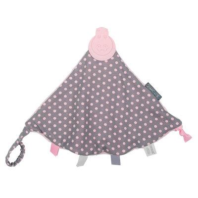 Kalencom Cheeky Chompers Comfortchew Teething Bib - Polka Dot Pink