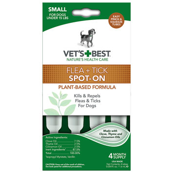 Vetritionals Vet's Best Topical Flea & Tick Treatment for Dogs up to 15lbs, 4 Month Supply