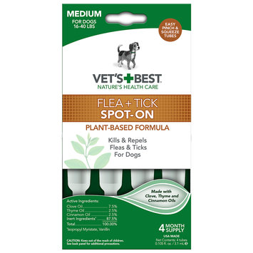 Vetritionals Vet's Best Topical Flea & Tick Treatment for Dogs 16-40lbs, 4 Month Supply
