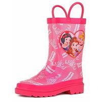 Disney Kids Girls' Princess Character Printed Waterproof Easy-On Rubber Rain Boots (Toddler/Little Kids)