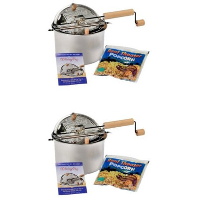 Wabash Valley Farms Whirley Pop Stovetop Popcorn Popper with Popping Kit -2 Pack