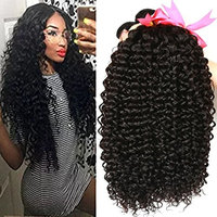 Beauty Hair Unprocessed Malaysian Virgin Curly Hair Extensions 3 Bundles 100% Real Malaysian Human Hair Weave 8A Grade Natural Black Color Full Head 14 16 18inches