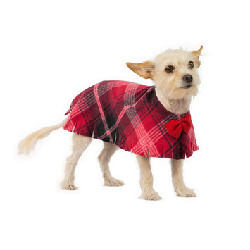 Pooch-o Red Diamonds Plaid Dog Poncho with Bow, Large