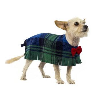 Pooch-o Blue Plaid Dog Poncho with Bow, Small