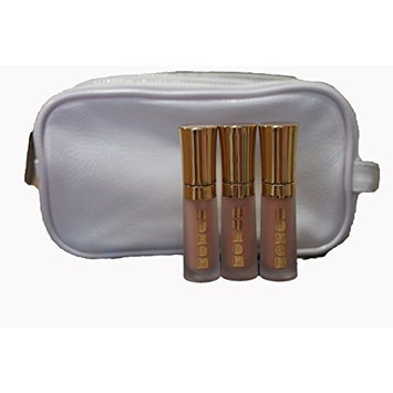 BareMinerals Buxom Mini Full-On Lip Cream 'Peach Daiquiri' 2ml/0.07oz - Set of 3 & White Make-Up Bag