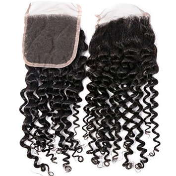 GEM HAIR Brazilian Virgin Hair Deep Curly Lace Closure 1 Piece 8-20 Inch Free Part Curly Human Hair Lace Front Closure