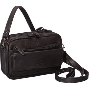 Mancini Leather Goods Colombian Leather Compact Unisex Bag Black - Mancini Leather Goods Men's Bags