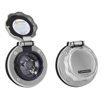 Furrion 30A Stainless Steel Inlet Round W/Led