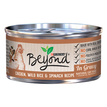 Purina Beyond Chicken, Wild Rice & Spinach Recipe In Gravy Canned Cat Food, 3 Ounce (Case of 12)