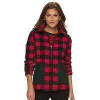 Women's Chaps Buffalo Check Fleece Jacket, Size: Large, Red Other