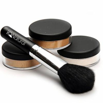 iQ Natural Mineral Makeup Starter Kit – Powder Brush, 2 Mineral Foundation Shades, Setting Veil, for Flawless Bare Looking Skin, 4 Piece Full Size Set