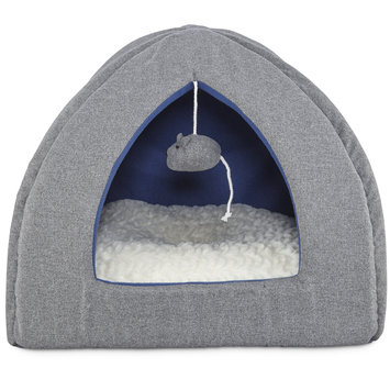 Harmony Igloo Hooded Cat Bed in Grey, 16