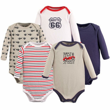 Baby Boy Long Sleeve Bodysuits, 5-pack
