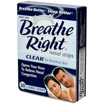 Breathe Right Nasal Strips Clear for Sensitive Skin Large 30 Each