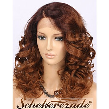 Scheherezade Short Bob Wavy Lace Front Wigs for Women, Natural Looking Ombre Brown Synthetic Hair Wig #4/#30 L Shape Deep Right Side Parting 12 inches (LDSL700) + Free Wig Cap