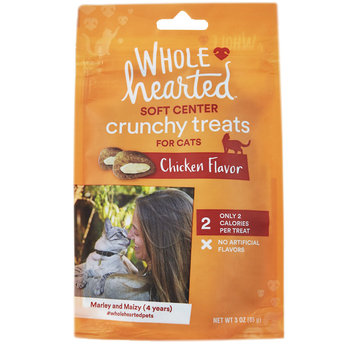 WholeHearted Soft Center Crunchy Chicken Flavor Treats for Cats, 3 oz