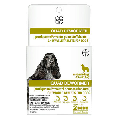 Bayer Quad Dewormer Tablets for Dogs 26-60lbs, 2 pack