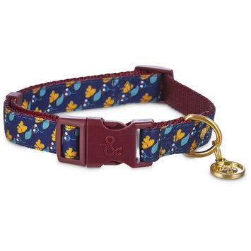 Bond & Co. Navy Floral Adjustable Dog Collar, Medium, Blue