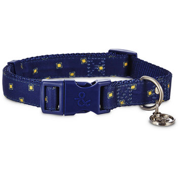 Bond & Co. Navy and Yellow Adjustable Dog Collar, Medium, Blue