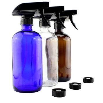 16oz Glass Bottles w/Heavy Duty Sprayers - Three Pack Bundle (1 Cobalt Blue, 1 Amber, 1 Clear); Boston Round; 3-Setting Spray Tops + Black Lids