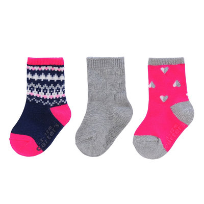 carter's® 3-Pack Fair Isle Socks in Pink
