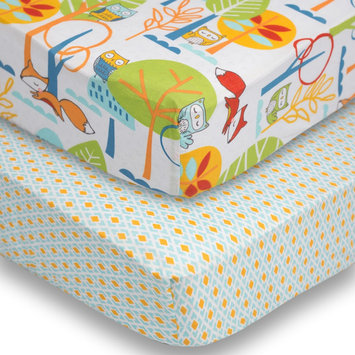 Poppi Living 2-pk. Forest Creatures Fitted Crib Sheet Set, Multicolor One size
