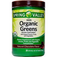 Walmart Spring Valley Kids Organic Greens Chocolate Flavor Powder, 28 Ct, 9.88 Oz