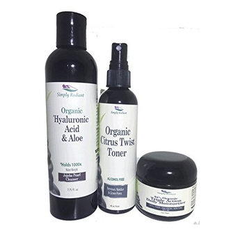 Simply Radiant Beauty Organic, All Natural Facial Care Set- Hyaluronic Acid Cleanser, Vitamin C Spritzer Toner and Triple Action Daily Moisturizer