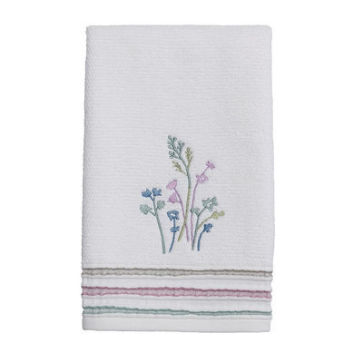 Ombre Leaves Hand Towel, White