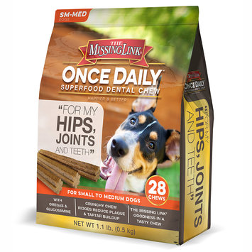 The Missing Link Once Daily Dental Chew Joint Formula for Small Dogs, 28 count
