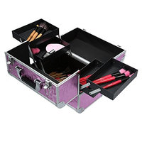 Foldable Cosmetic Organizer Box, Lockable Makeup Travel Case for Jewelry and Nail Art Tools 4.17 Pound