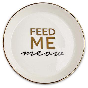 Harmony White Feed Me Meow Cat Saucer, Medium