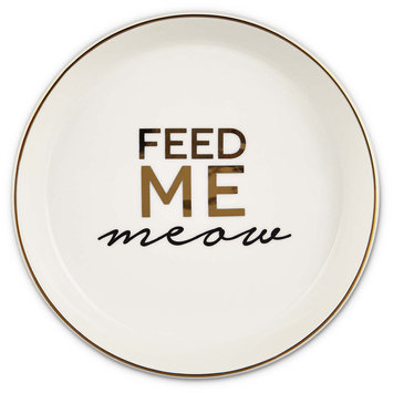 Harmony White Feed Me Meow Cat Saucer, Large