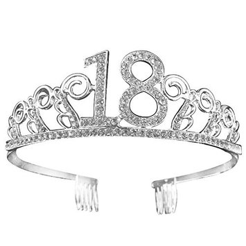 Crystal Tiara Birthday Crown 18th Birthday Pricess Crown (Silver)