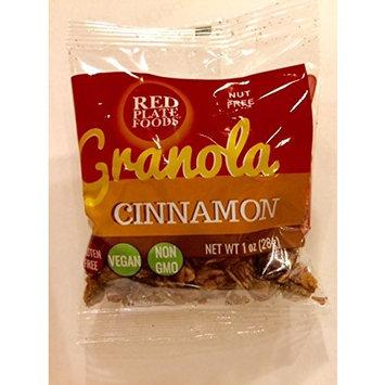 Red Plate Foods Cinnamon Gourmet Granola Snack Packs, Nut Free, Gluten Free, Vegan/Dairy Free, 48 bags 1 oz each
