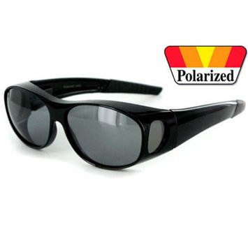 1 PAIR BLACK 100% UV Polarized Sunglass Cover Over Fit Prescription Sunglasses, Medium