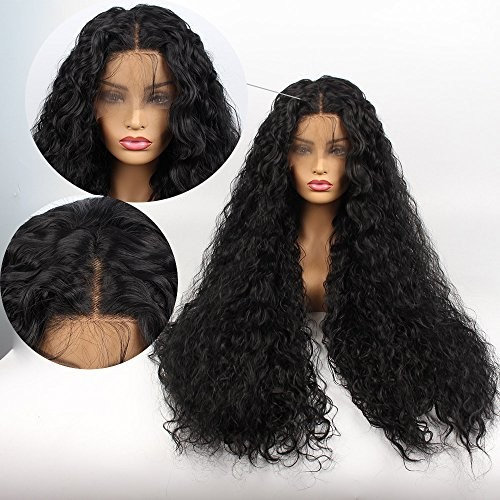 Life Diaries NO TANGLE Kanekalon long Curly High Density Heat Resistant Fiber Bleached Knot Glueless Large Part Space Lace Front Synthetic Wig For Girls And Women Nature Black 32 inch
