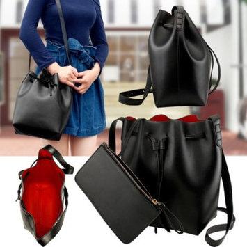 Black Women Fashion Handbag Faux Leather Bucket Bag Tote Shoulder Satchel Cross Body Retro drawstring closure Crossbody Purse w/small pouch