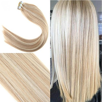 Youngsee 16inch Remy Highlight Tape in Hair Extensions Ash Brown with Blonde 10pcs Silk Straight Glue in Skin Weft Human Hair Extensions Total 25gram []